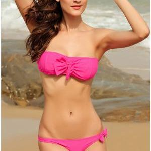 New Nice Decorative Pink Bow Bikini..