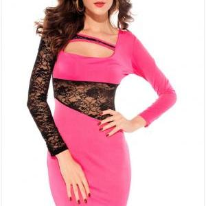 New Nice Pink Sleeve Gauze Straps Slim Lace Dress