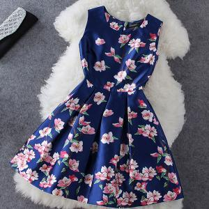 Unique Blue Flower Print Sleeveless Dress