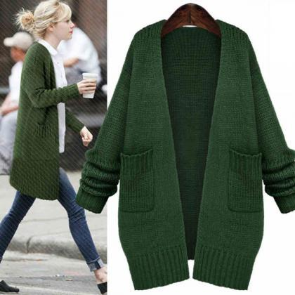Fresh Green Loose Knitted Cardigan