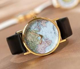 Elegant Black World Map Watch