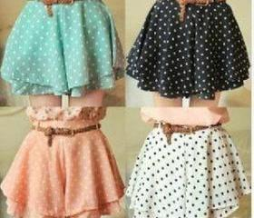 New Dot Chiffon Mini skirt With belt