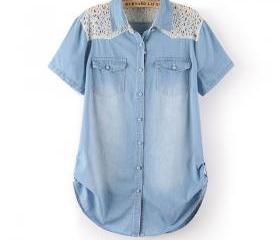 Sexy Lace Stitching Denim Short Sleeved Shirt