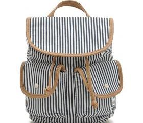 Navy Stripe Drawstring Canvas Travel Backpack