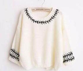 Weave Lace O-neck Batwing Sleeve Slit Back Knit Loose Sweater