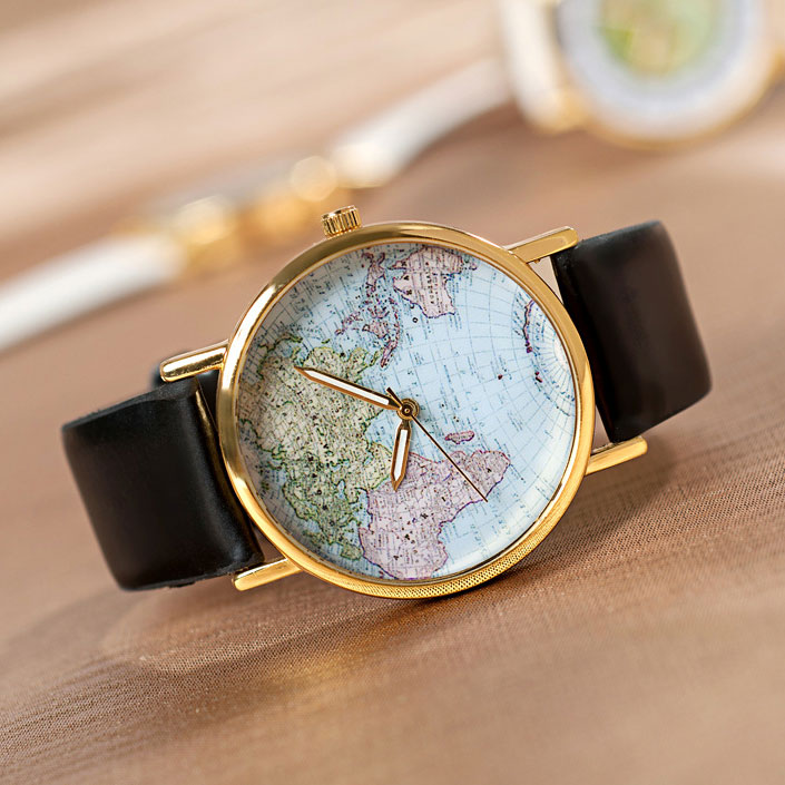 Black World Map Watch Elegant Black World Map Watch