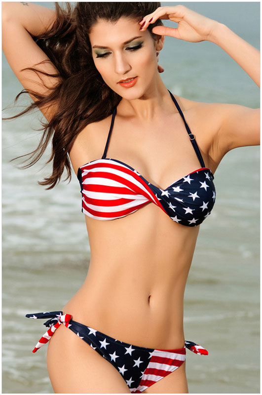 New Nice Halter Bikini American Flag Swimsuit