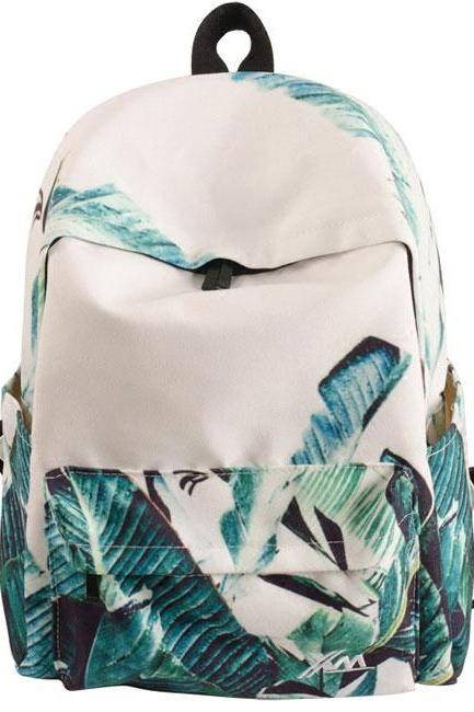 Unique Green Banana Leaves Large Capacity Canvas School Backpack