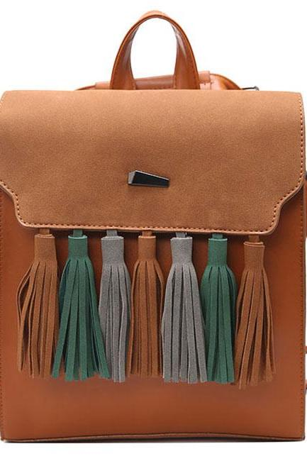 Retro British PU Tassel Contrast Color Flap Solid College Backpack