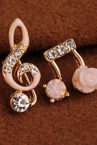 Unsymmetrical Diamond-bordered Music Notes Solid Flower Shining Women's Earring Studs