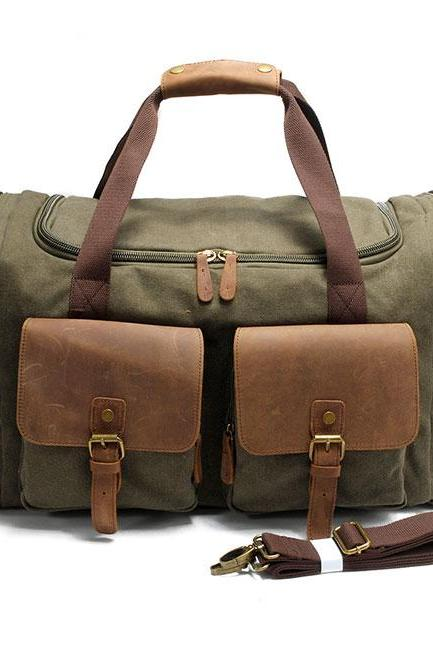 Multi-Pockets Luggage Bag Sports Handbag Large Capacity Travel Laptop Thick Canvas Shoulder Bag