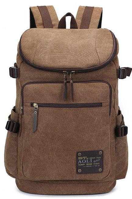 Capacity Camping Bag School Laptop Backpack Retro Zipper Men's Canvas Travel Backpack