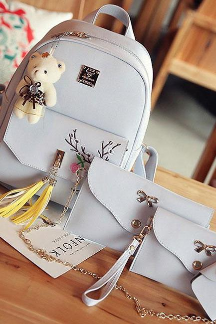 Fashion PU Girl's Bow College Bag Peach Blossom Embroidery Tassels Flower School Backpack