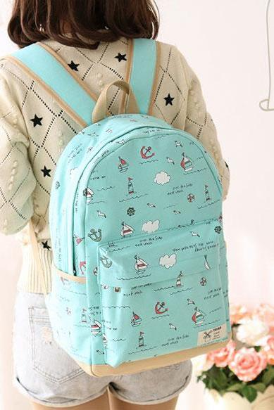 Fresh Anchor Rucksack New Ocean Boat High School Canvas Backpack