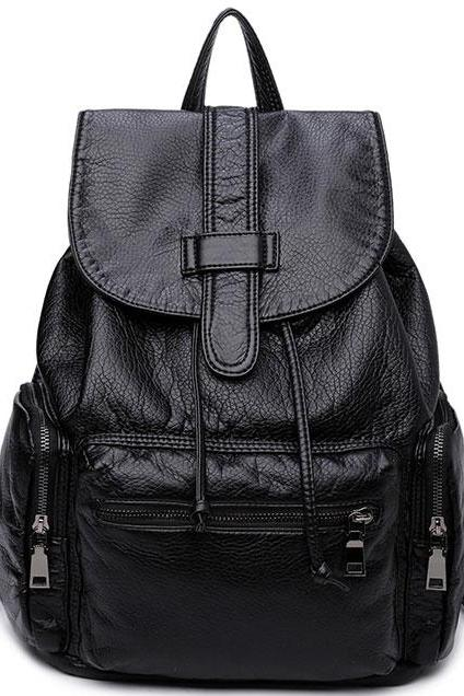 Black Leather Women Travel Bag Simple College Backpack