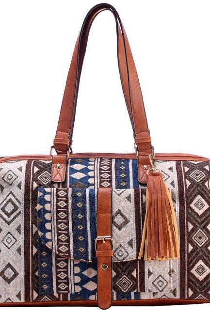 Folk Style Geometric Patterns Printing Splicing PU Belt and Tassel Shoulder Bag Large Capacity Travel Bag