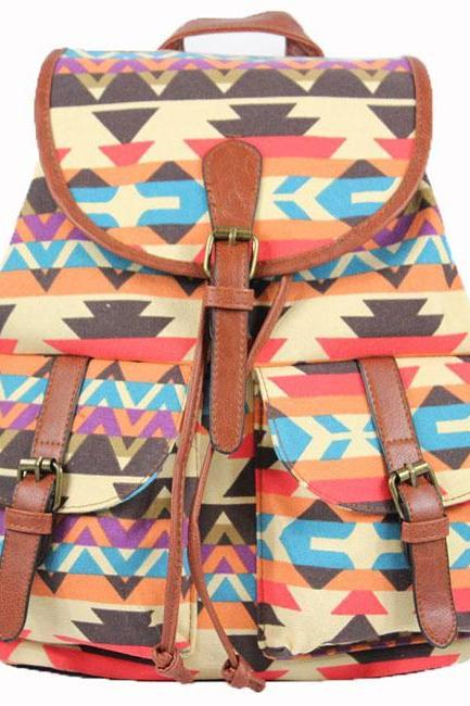 Canvas National Style Geometric Patterns Backpack