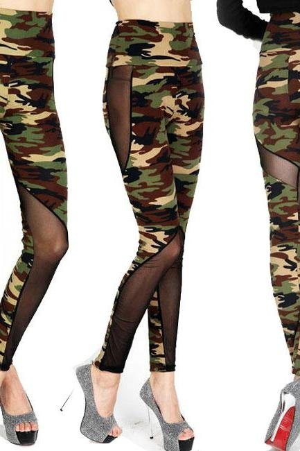 Mesh See Through Camouflage Splicing Ninth Skinny Legging