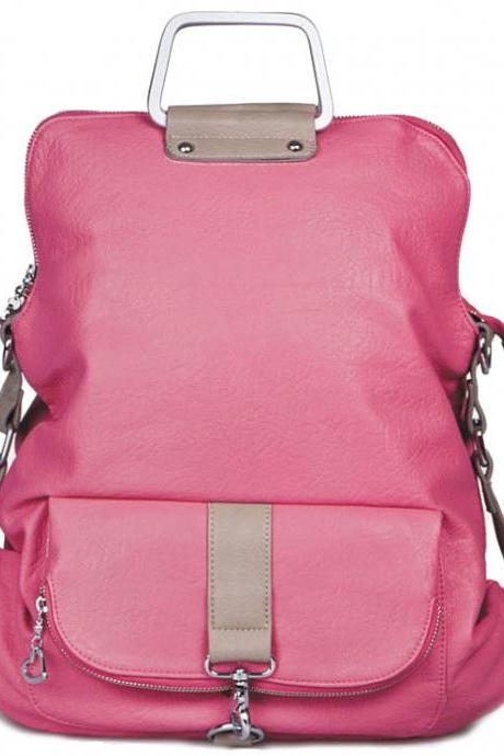 Fashion Pink Multifunction Backpack &Handbag