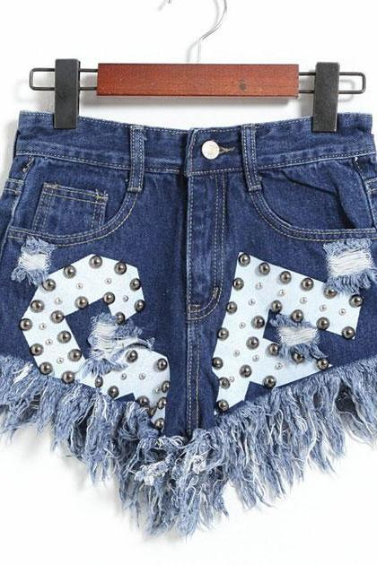 Edges Rivet High Waist Denim Shorts Jeans Wonmen Shorts