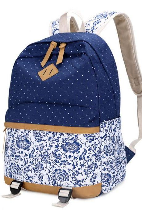 Fresh Floral Polka Dot Canvas Travel Backpack Leisure Backpack&Schoolbag