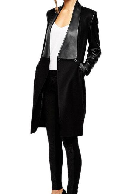 Fashion PU Leather Pockets Long Sleeve Slim Fit Bodycon Coat Jacket