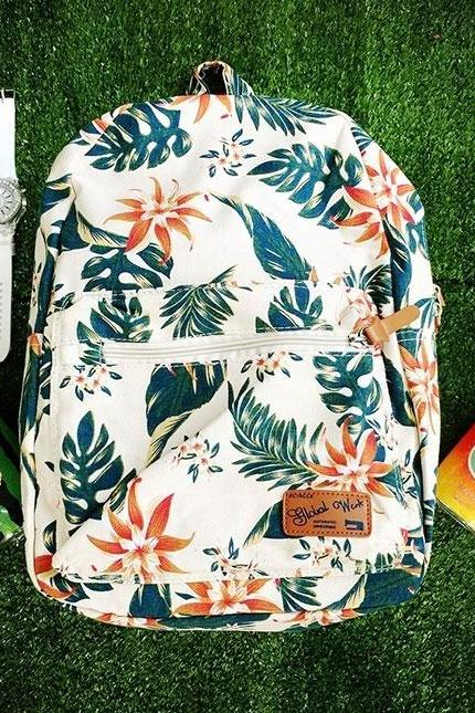 Vintage Leaves Small Fresh Casual Backpack Canvas Rucksack