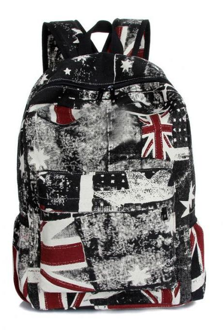 Fashion British Flag Backpack Union Jack Canvas Schoolbag Travel Bags