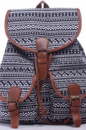 Leisure Irregular pattern Rucksack Totem College Canvas Geometry Backpack
