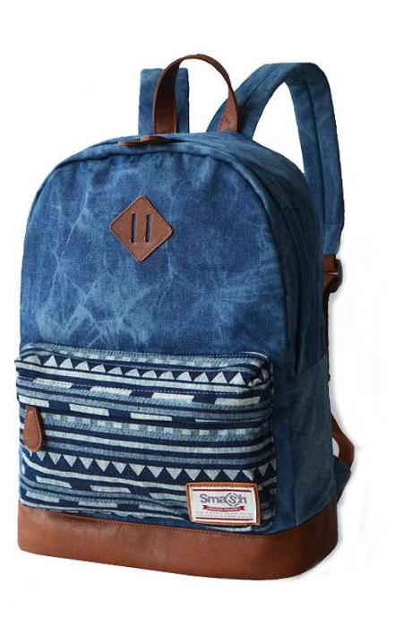 Chevrolet Blue Stitching Leather Trunk Canvas Backpack Schoolbag