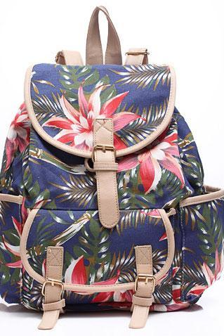 Vintage Bohemian Floral Printed Canvas Casual Backpack