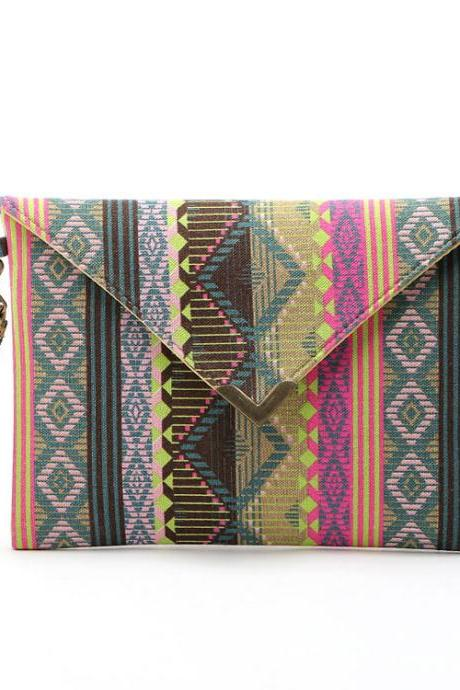 Vintage Ethnic Geometric Printed Canvas Envelope Bag Clutch bag