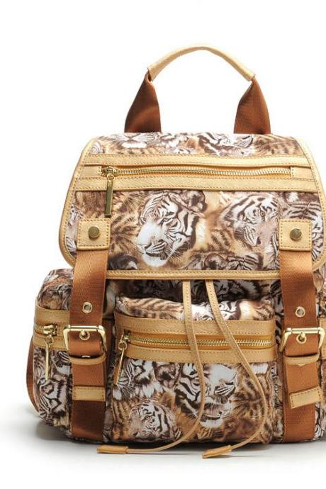 Fashion Tiger Printing Sitching Leather Rucksack Schoolbag Travel Backpack