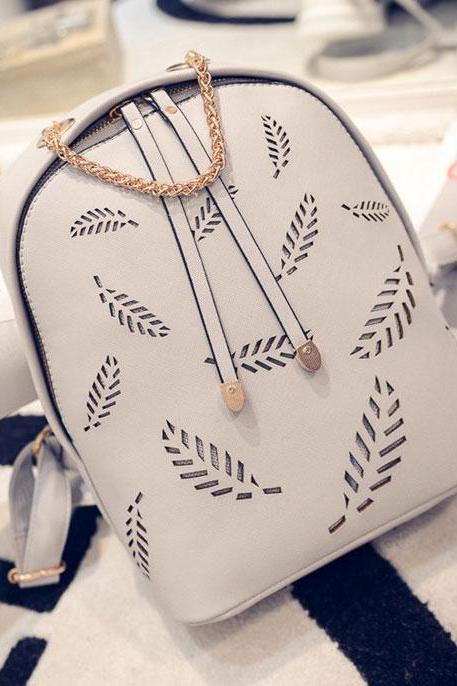 Feather Pattern Backpack Gold Chain School Bag