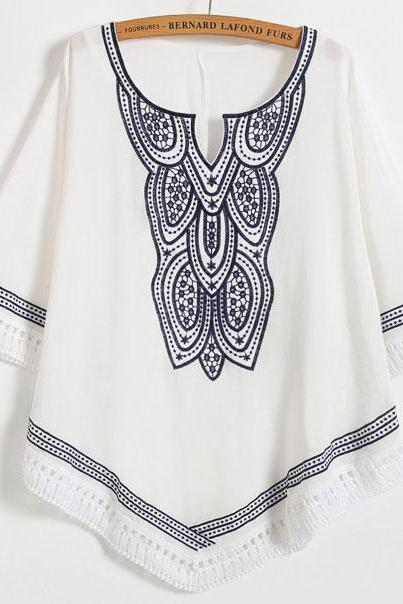 Tribal Embroidered Flared Sleeve Scoop Neck Blouse Featuring Cutout Detailing