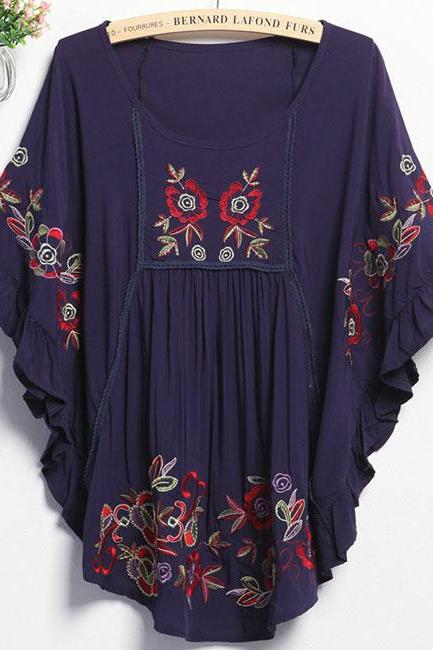 Floral Embroidered Scoop Neck Ruffled Flared Sleeve Blouse