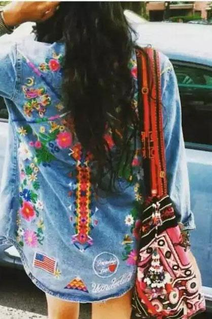 Floral and Tribal Embroidered Light Washed Denim Button Down Shirt