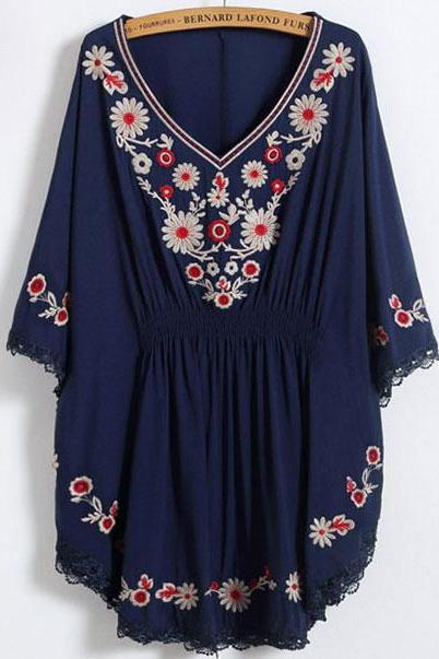 Floral Embroidered Plunge V Flared Sleeve Blouse Featuring Eyelash Lace