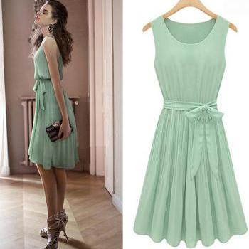 Nice Fashion Bat Sleeve Mint Green Dress