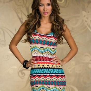 New Geometric Printed Bow Sleeveless Rainbow Dress