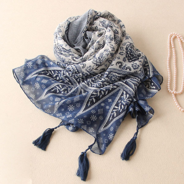 Tassel Long Cotton Scarves