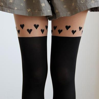 Lovely Heart Silk Stockings