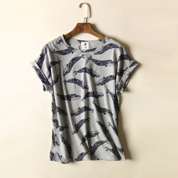 Whale Pattern Round-neck Roll Short-sleeved T-shirt