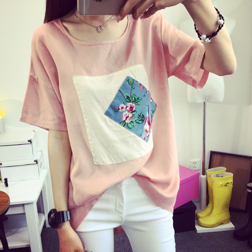 Floral Bird Pattern Patch Loose Splice Sleeves Round-neck T-shirt