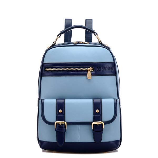 Zipper Mixed Color Travel Backpack School Bag
